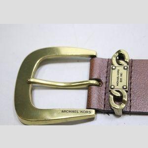 {Michael Kors} Brown Leather Belt Size Medium